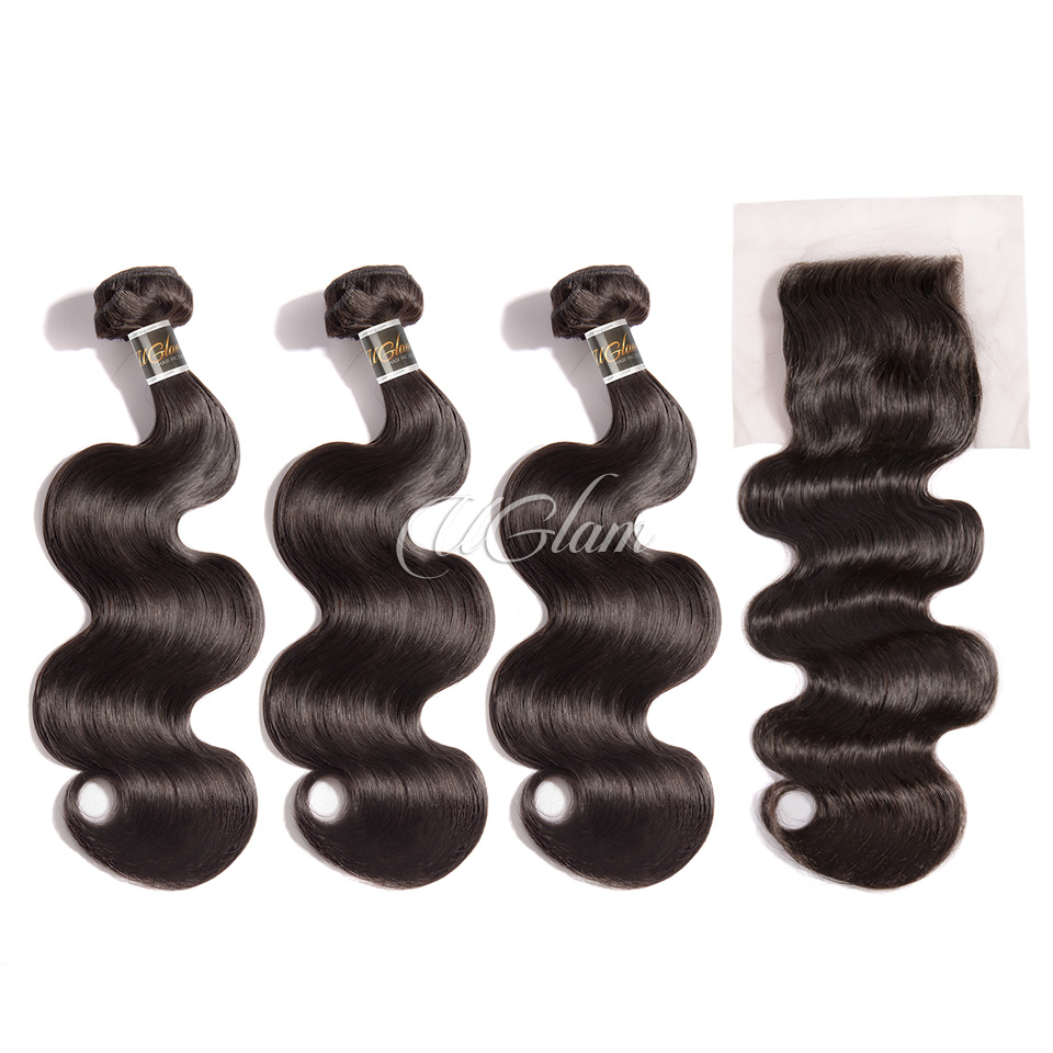 Uglam Hair 4x4 Lace Closure With Bundles Indian Body Wave Sexy Formula