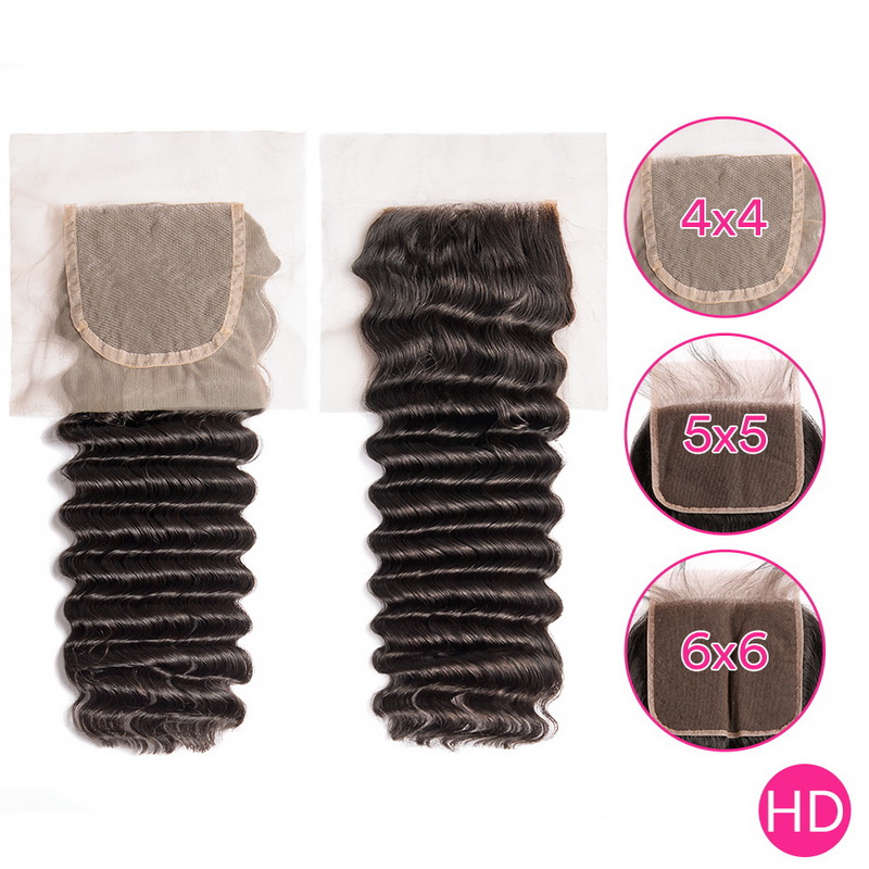 Uglam HD 4X4 5X5 6X6 Lace Closure Deep Wave Curly Sexy Formula