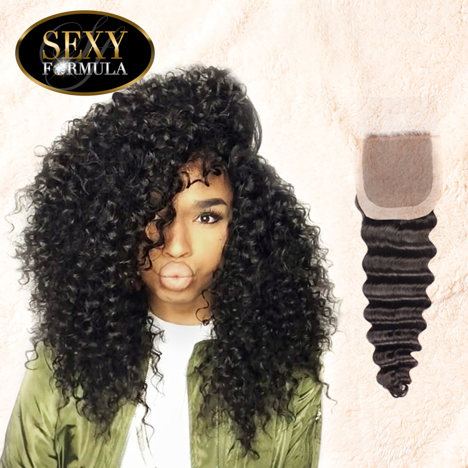 Uglam Hair 4x4 Silk Base Closure Indian Deep Wave Curly Sexy Formula