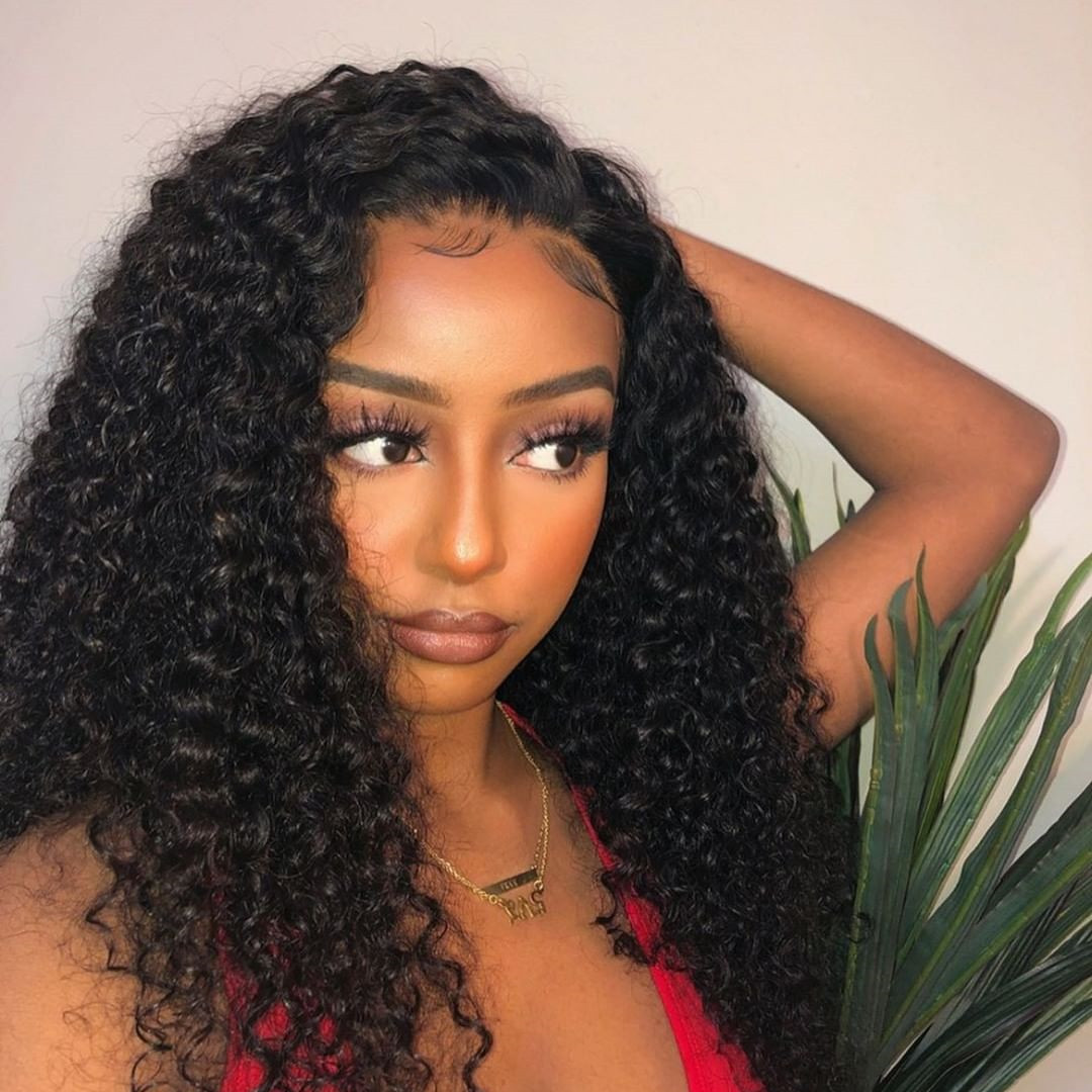 Uglam 13X6 Transparent Lace Front Wigs Deep Wave 200% Density