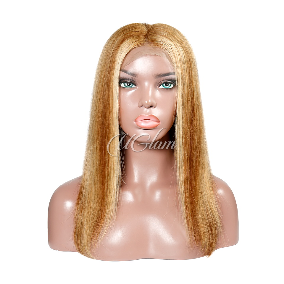 Uglam Hair Lace Front Wigs Ombre Honey Brown Color Silky Straight 180% Density