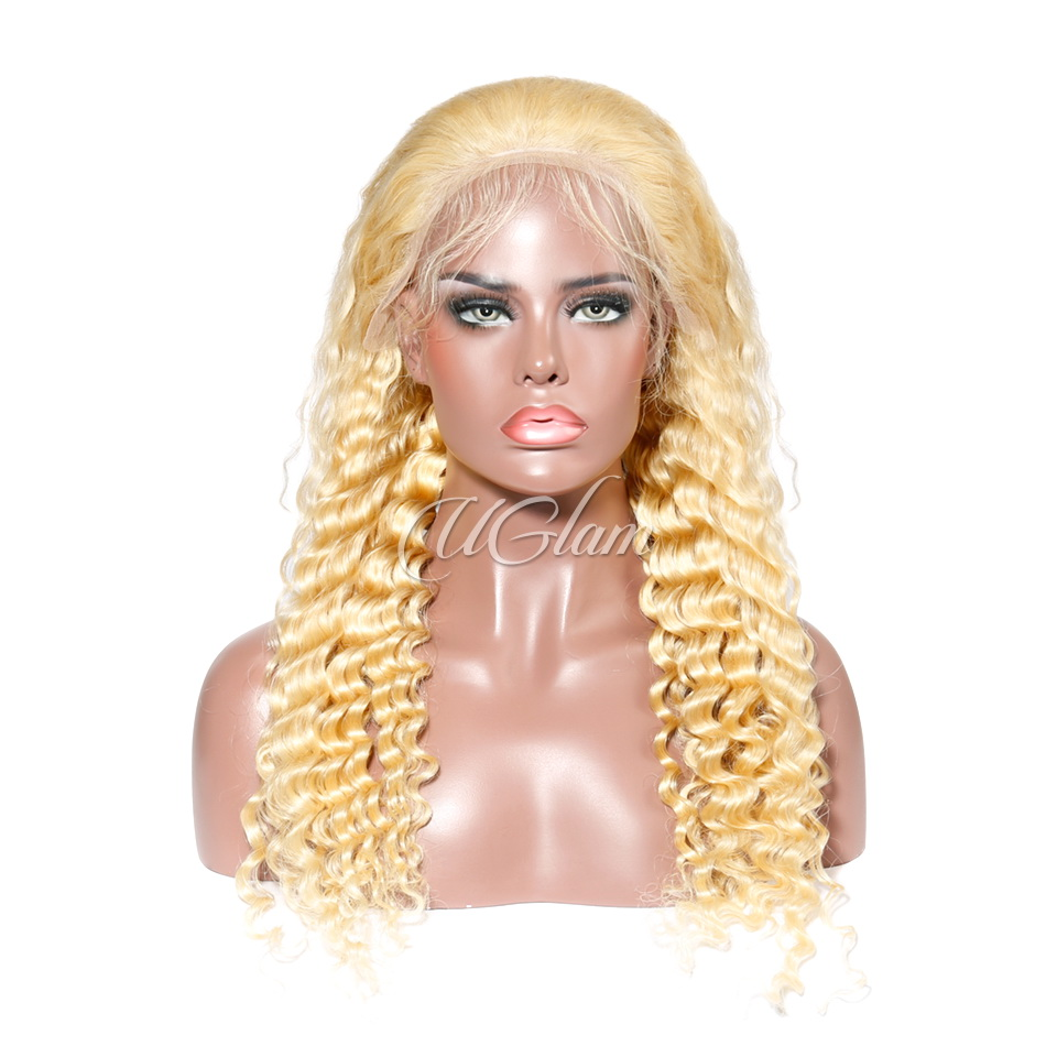 Uglam Hair 13X6 Lace Front Wigs 613 Honey Blonde Color Deep Wave 180% Density