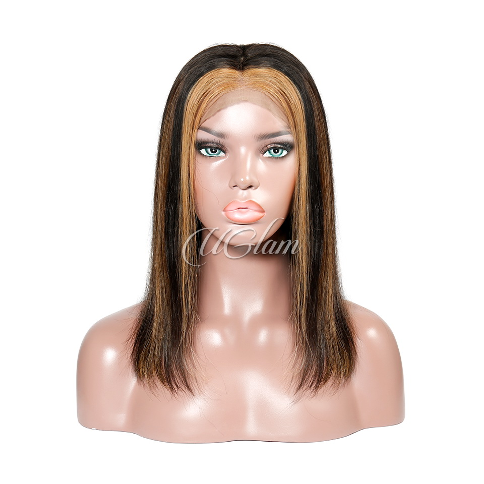 Uglam Hair Lace Front Wigs Piano Haighlight Brown Color Silky Straight 180% Density
