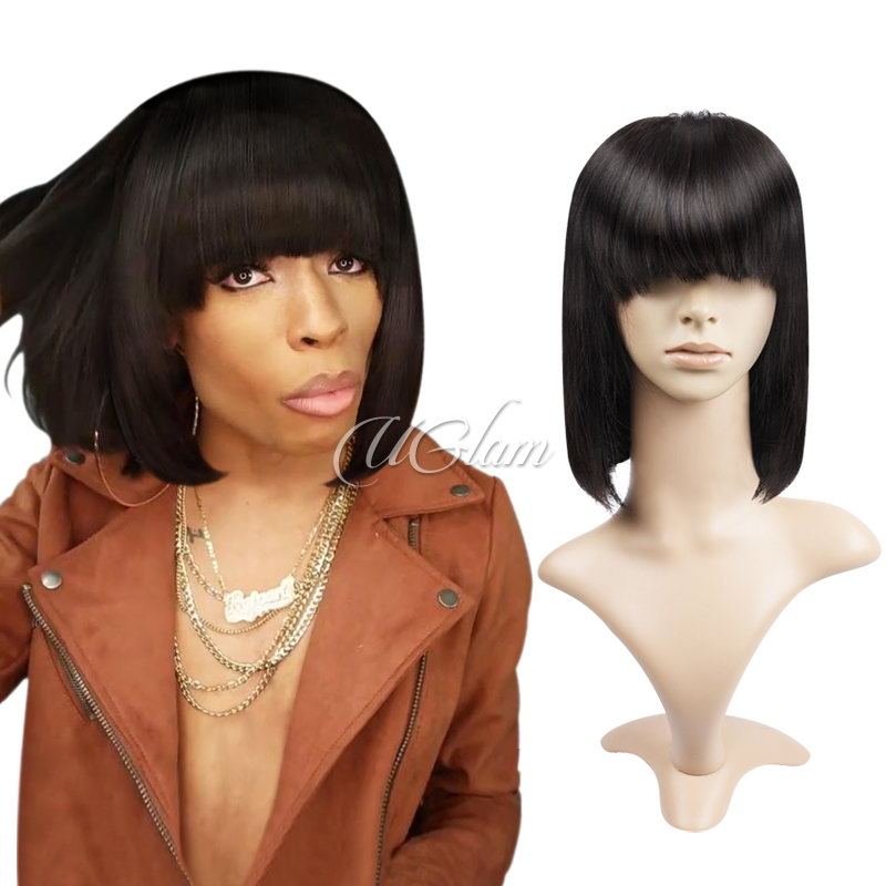 Uglam Hair Bob Lace Front Wigs With Bangs