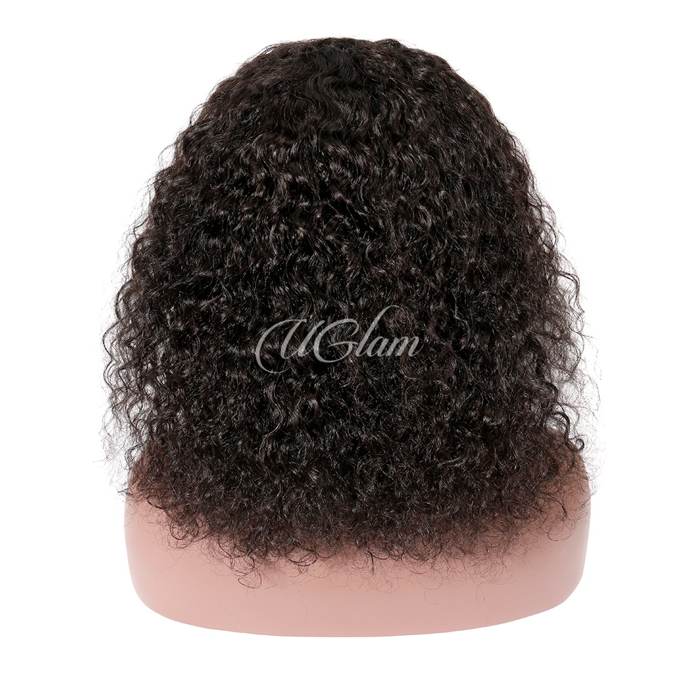 Uglam Hair Bob Lace Front Wigs Natural Curly With Free Part