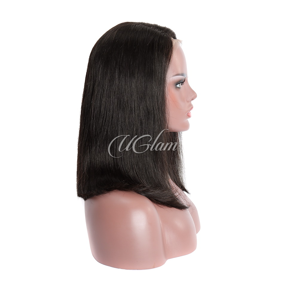 Uglam Hair Bob Machine-Made Wigs Straight Hair With Middle Part