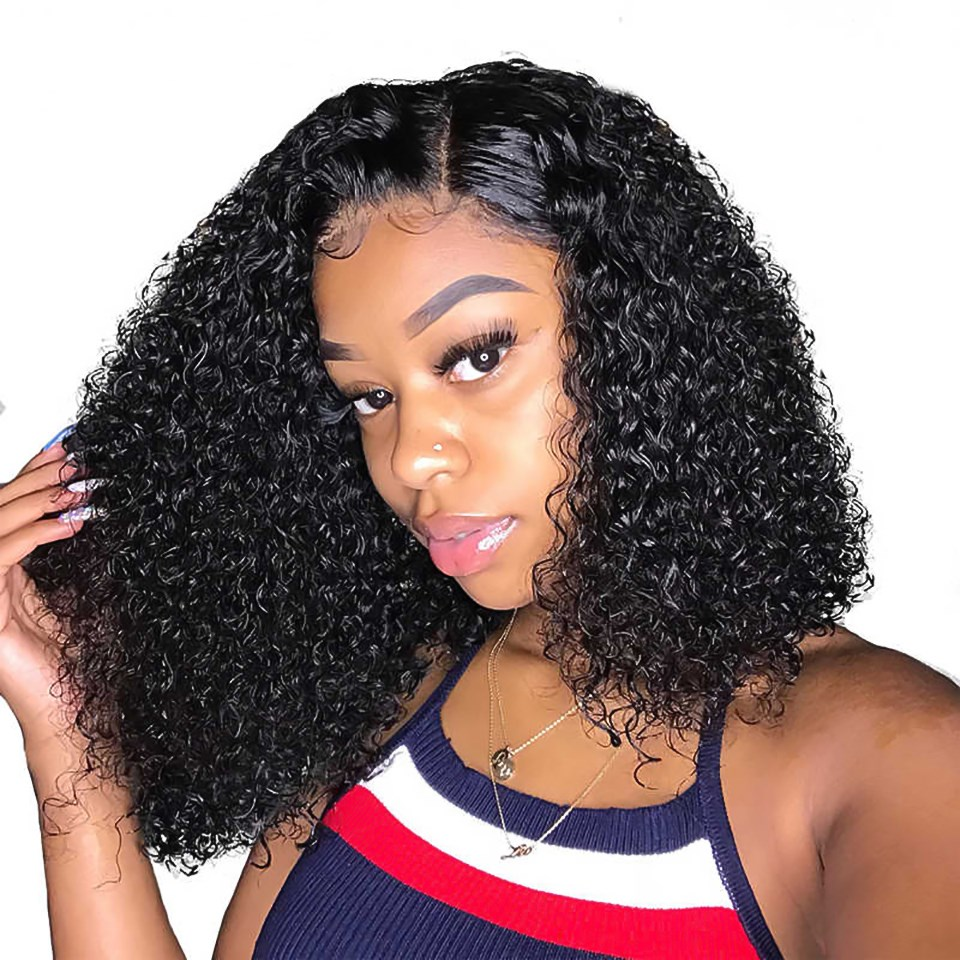 Uglam Bob Closure Wig 250% Density Deep Wave Virgin Hair