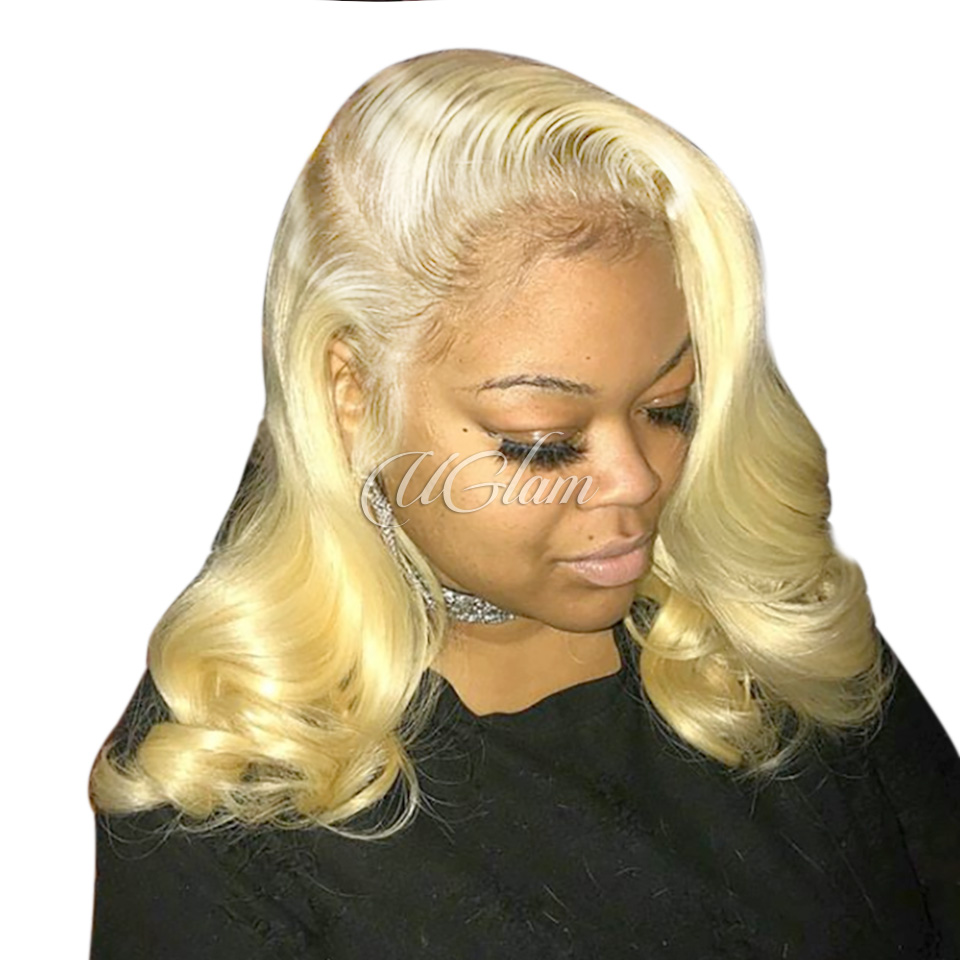 Uglam Hair Full Lace Wigs 613 Honey Blonde Color Body Wave 180% Density