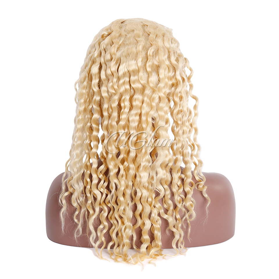Uglam Hair Full Lace Wigs 613 Honey Blonde Color Deep Wave 180% Density