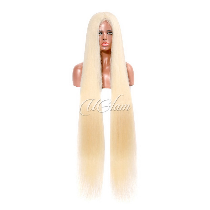 Uglam Hair Full Lace Wigs 613 Honey Blonde Color Straight 180% Density