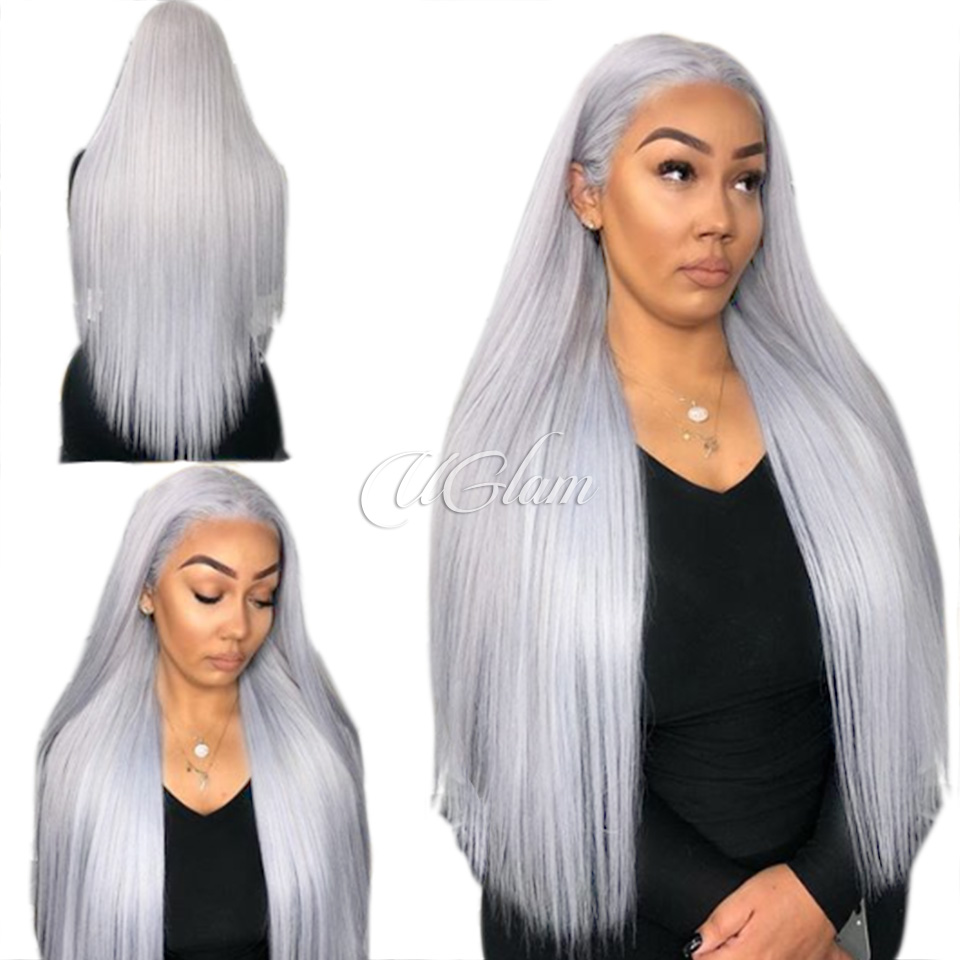 928065f76 Uglam Hair Grey Lace Front Wigs Silver Color Straight 150% Density
