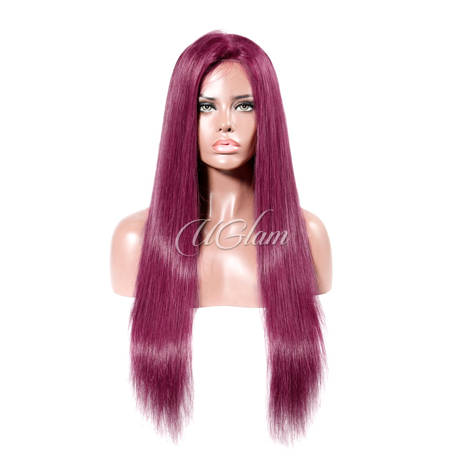 b66bd2658 Uglam Hair Lace Front Wigs 99J Wine Color Straight 180% Density