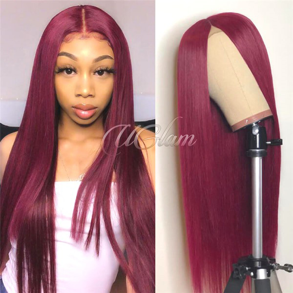 Uglam Hair Lace Front Wigs 99J Wine Color Straight 150% Density