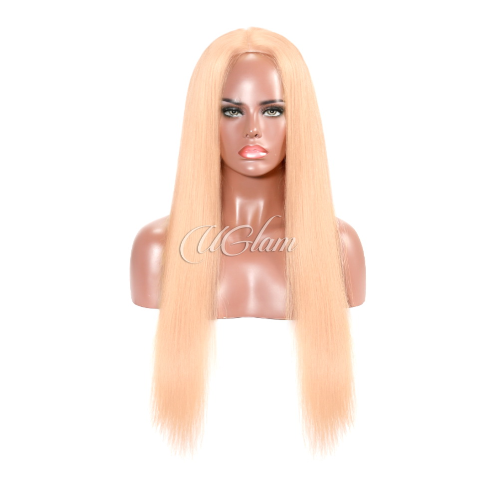 Uglam Hair Lace Front Wigs Peach Candy Color Straight 180% Density