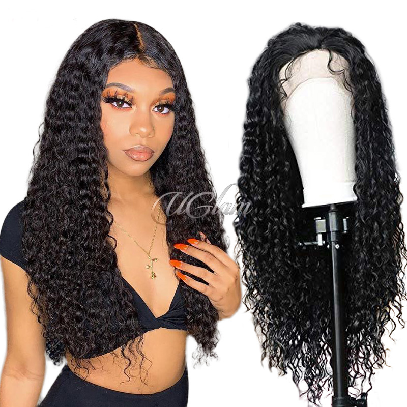 Uglam Non Remy Hair Lace Front Wigs Deep Wave 150% Density