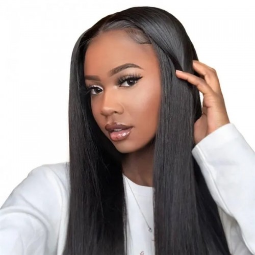 Uglam Machine Wigs 150% Density Straight Hair Weave With 4x4 Lace Closure