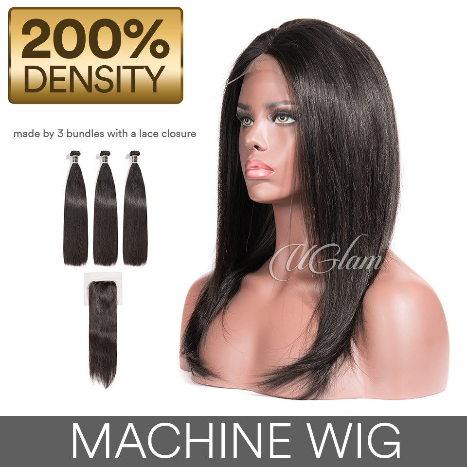 Cheap Machine Wigs Straight Hair Weave With 4x4 Lace Closure