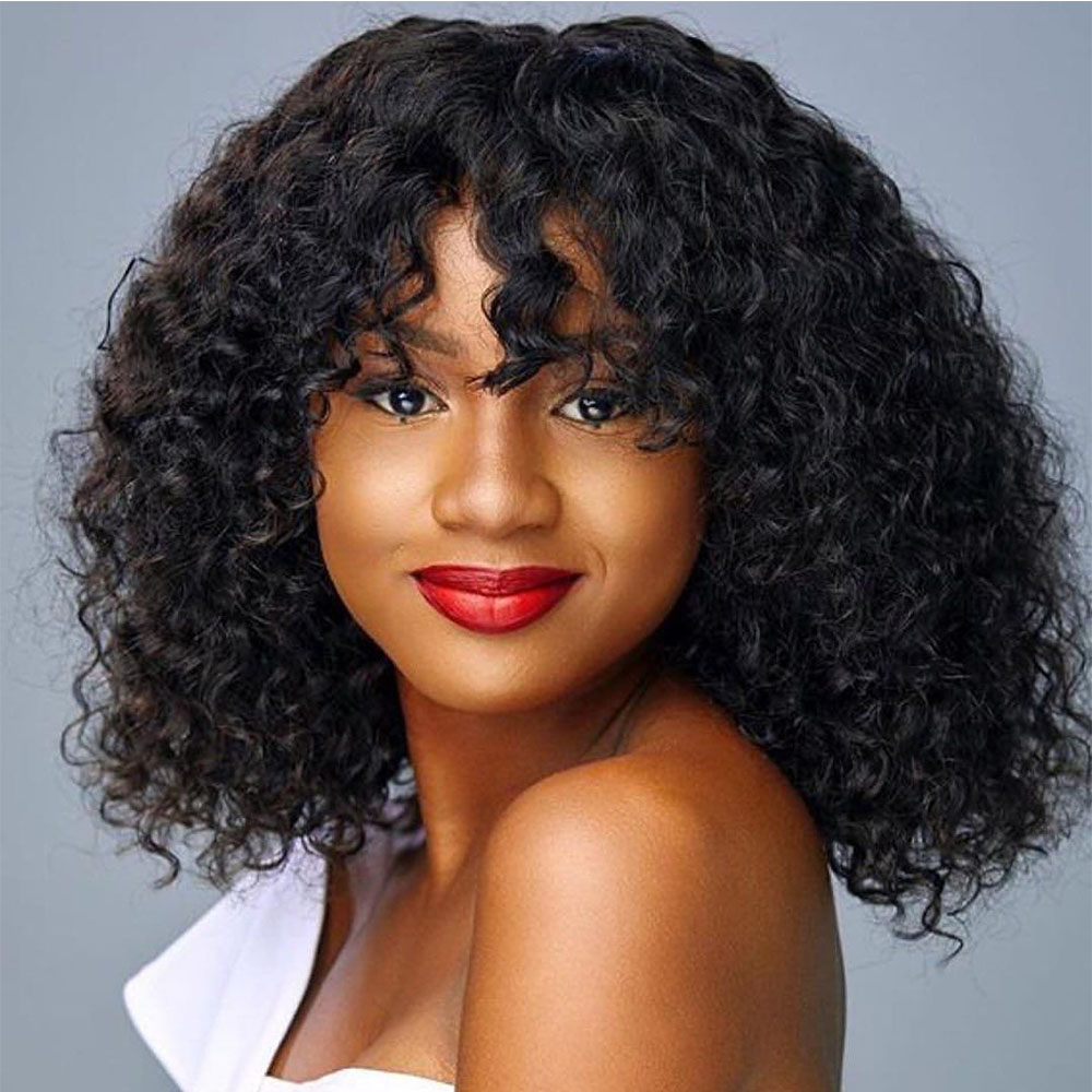 Uglam Bob Machine Made Wigs Deep Wave With Bang Hair