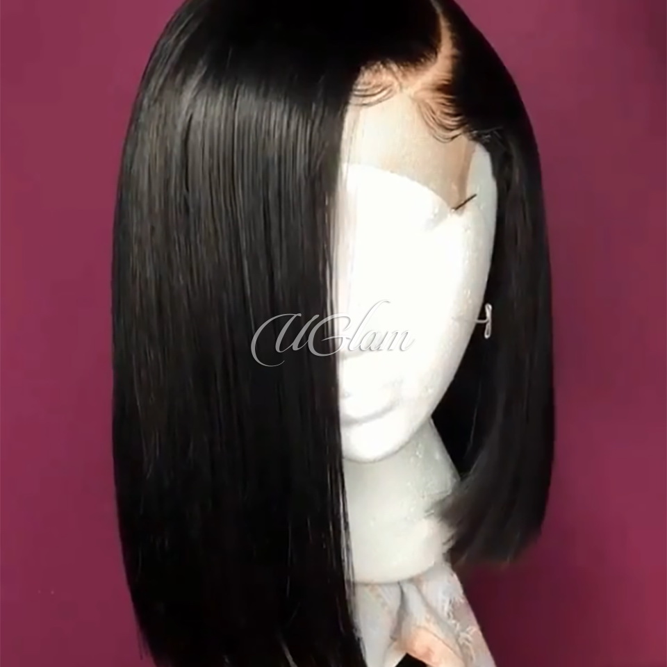 Uglam Hair Bob Machine Wigs Straight Similar Scalp Skin Made By Hair Weave With 4x4 Lace Closure
