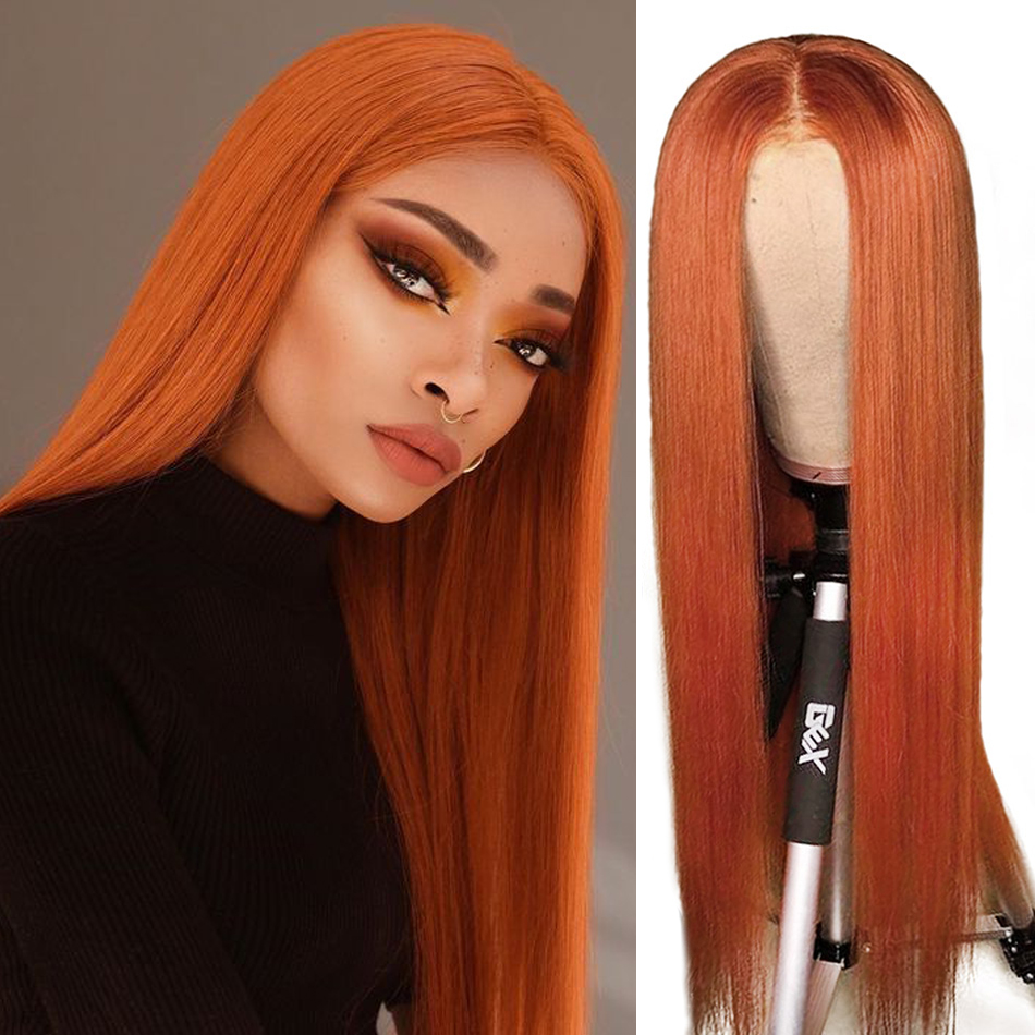 Uglam Orange Ginger Color Straight T Part Lace Wig